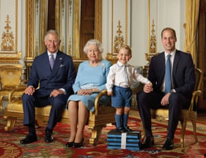 The 2016 portrait of the Queen with Charles, William and George.