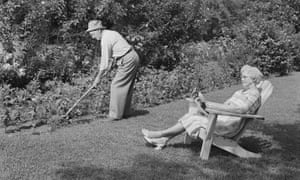 Couple working in a garden.