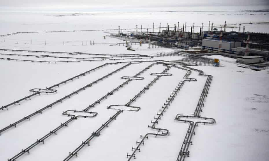 Incoming pipelines leading to the Bovanenkovo gas field on the Yamal peninsula in the Arctic circle