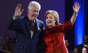 Former president Bill Clinton campaigns with the Democratic frontrunner for president, Hillary Clinton.