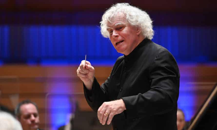 Simon Rattle conducts the LSO in LSO St Lukes for the recording of Beethoven's Piano Concerto cycle with Krystian Zimerman