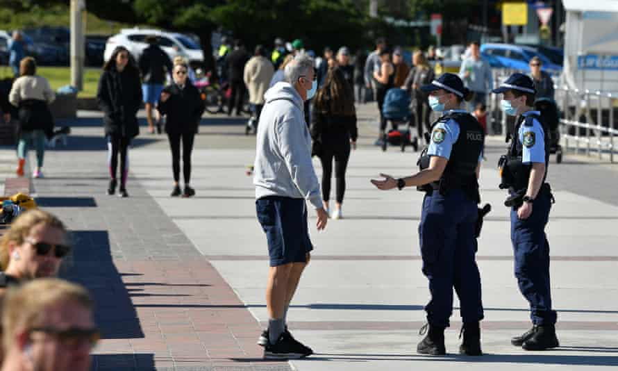 NSW police the promenade at Bondi Beach on 20 July during the Covid lockdown of greater Sydney.