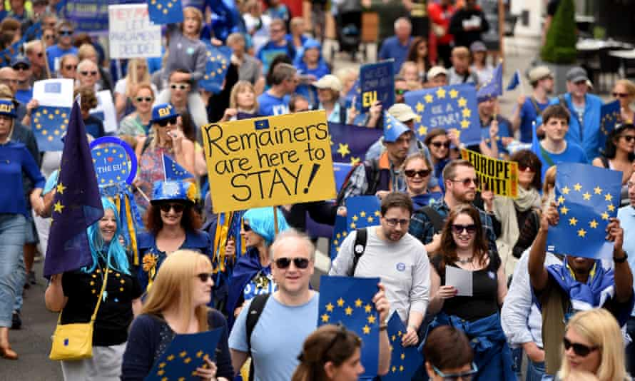 Anti-Brexit protesters rally in London for the March for Europe