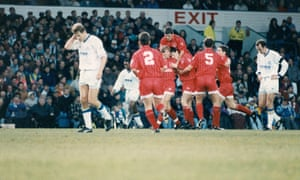 Nottingham Forest's players celebrate during their 4-1 win against Leeds in December 1992. Leeds were champions and would go on to end the season in 17th place