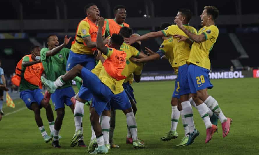 Brazil's players celebrate