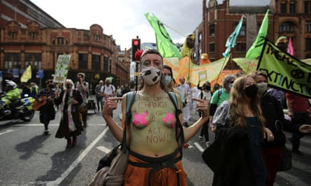 Extinction Rebellion protesters in Manchester on Tuesday