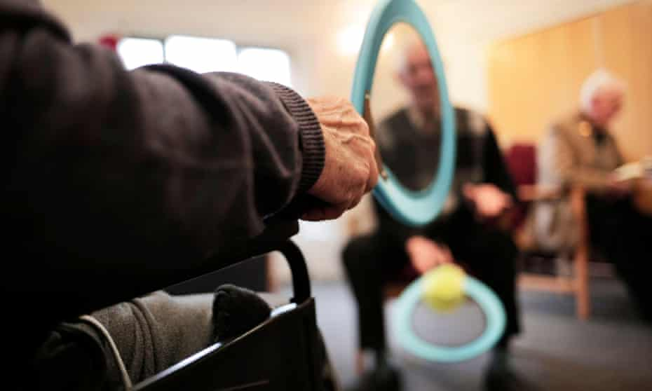 Residents enjoy an activities session at a care home. Providers say banks are expressing concern at the sector's viability.