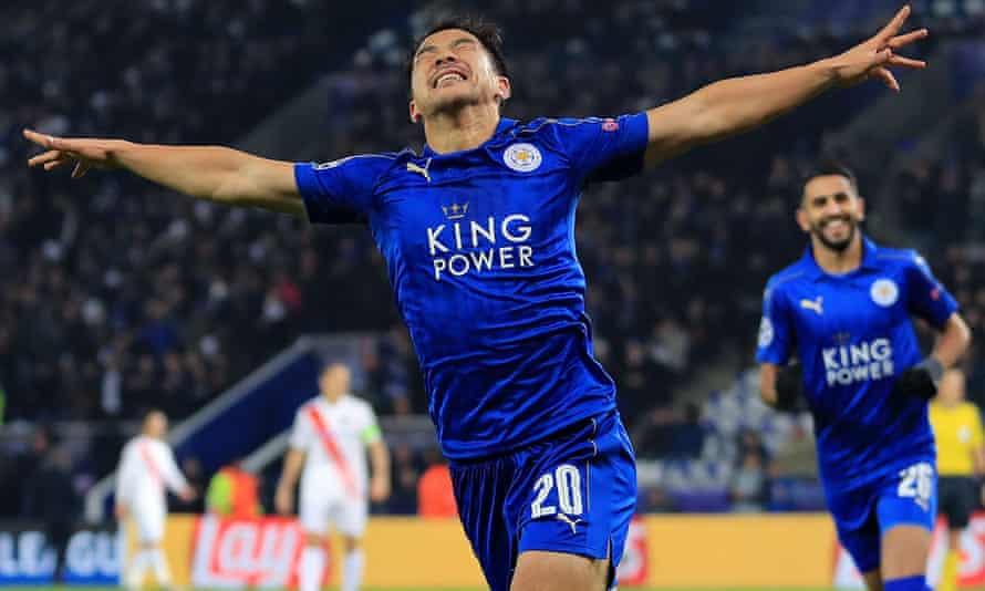 Shinji Okazaki celebrates after scoring for Leicester.