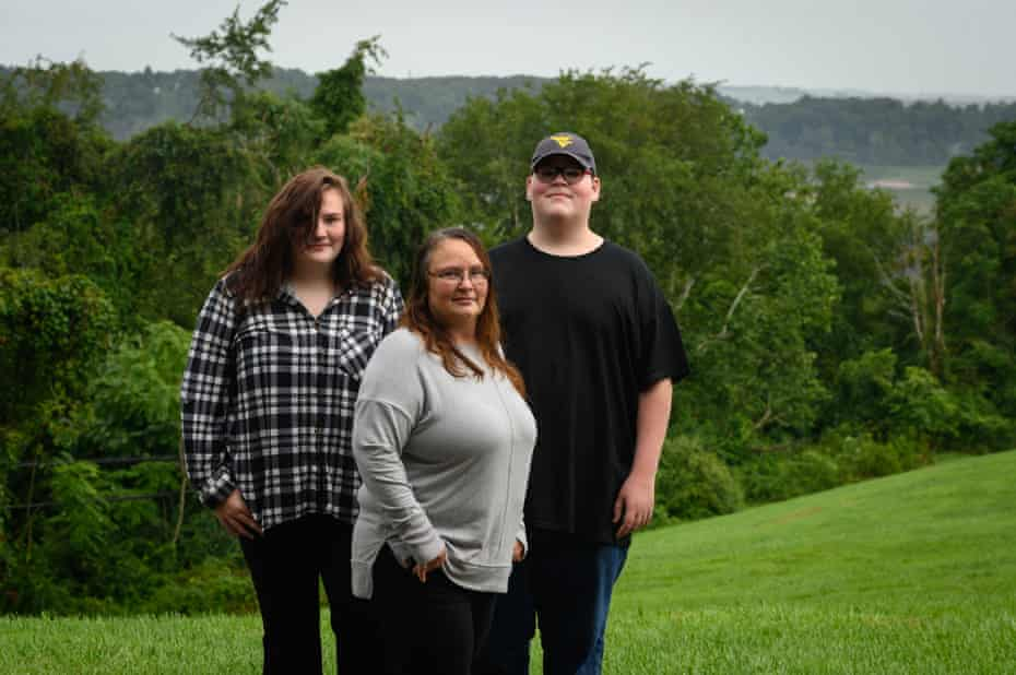 Stormy Johnson, 44, of Kingwood, West Virginia, with her son, Tristan, 13, and her daughter, Violet, 14.