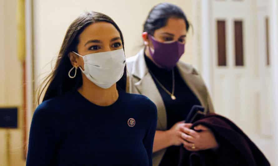 Alexandria Ocasio-Cortez walks through the US Capitol on 4 February.