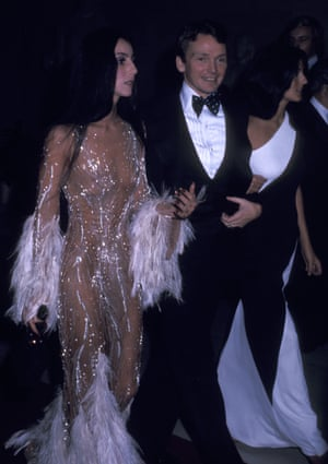 """The Metropolitan Museum of Art's Costume Insitute Gala Exhibition """"Romantic and Glamorous Hollywood Design""""NEW YORK CITY - NOVEMBER 20: Singer Cher, fashion designer Bob Mackie and Cher's friend Paulette Betts attend The Metropolitan Museum of Art's Costume Insitute Gala Exhibition """"Romantic and Glamorous Hollywood Design"""" on November 20, 1974 at The Metropolitan Museum of Art in New York City. (Photo by Ron Galella/WireImage)"""