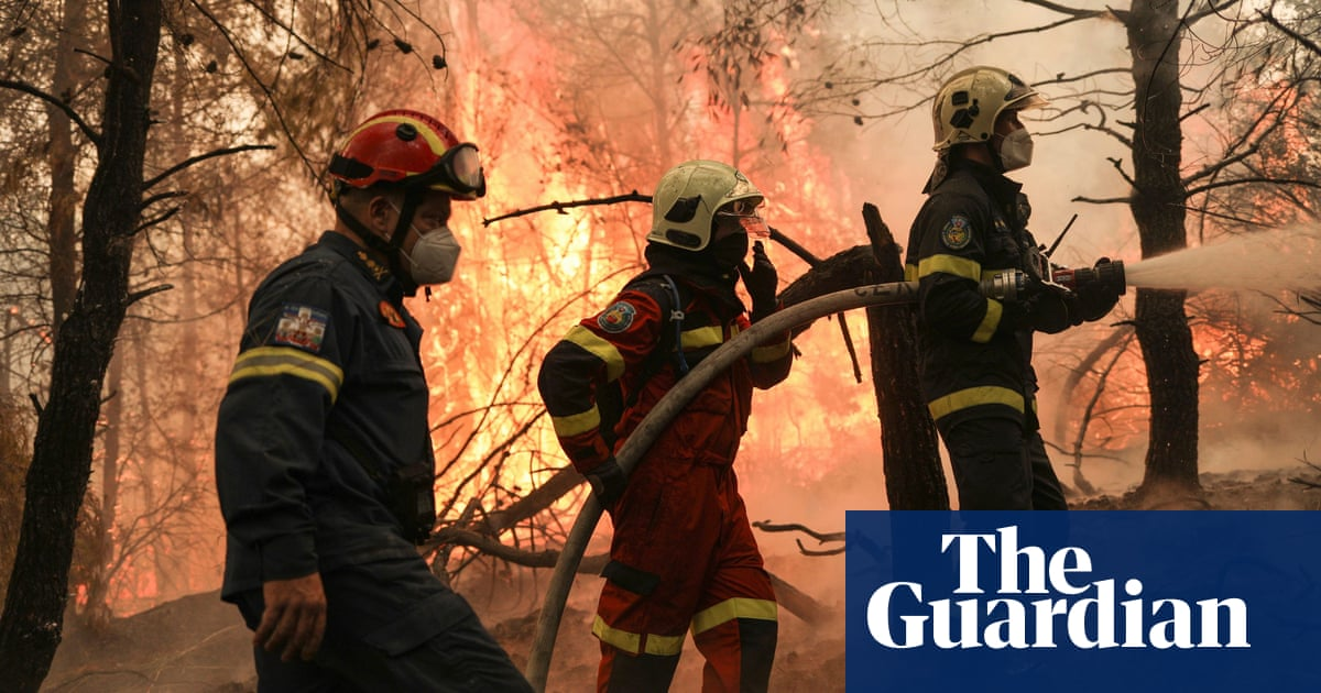 Firefighters battling wildfires to save homes on Greek island of Evia