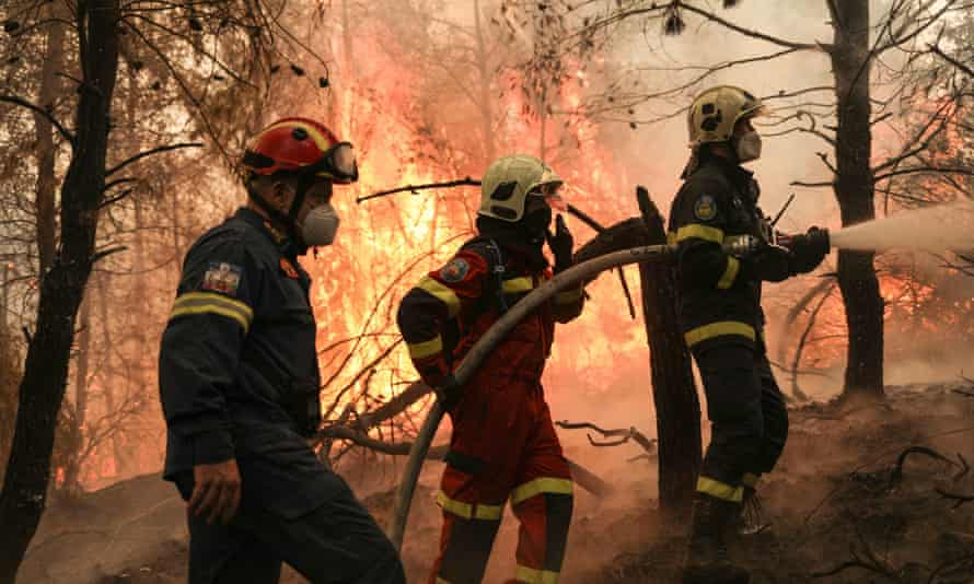 Two firefighters from Greece and one from Slovakia try to extinguish a wildfire in Avgaria, Evia.