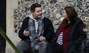 Riley Carter Millington as Kyle, left, with Lacey Turner as Stacey in EastEnders.