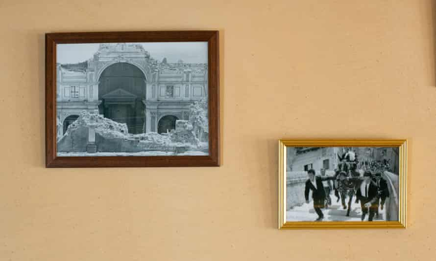 Pictures of Salemi's past on the wall of a bar. Some of the town's older inhabitants remain nostalgic for the original grandeur of the Chiesa Madre.