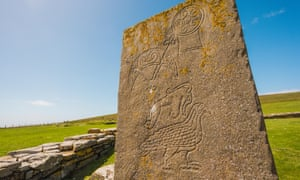 Pictish stone symbols including one of a Pictish beast Orkney, Scotland