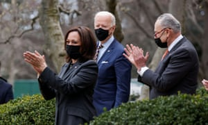 Biden at the White House with Kamala Harris and Chuck Schumer.