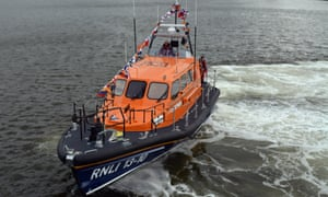 The elderly victim was transferred to a lifeboat before being airlifted to hospital.