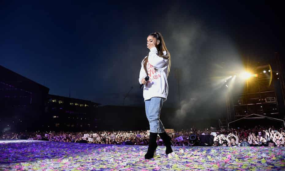 'By prioritising her mental health and refusing to let terrorists suppress girls' joy and sexuality, she set a powerful example for fans' ... Ariana Grande at One Love Manchester, 4 June 2017.