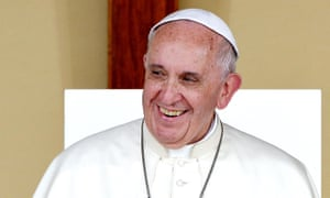 Pope Francis smiles during a meeting with youths on Piazza Vittorio in Turin on 21 June, a few days after his encyclical Laudato Si' was issued.