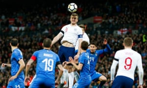 Eric Dier of England heads for the ball