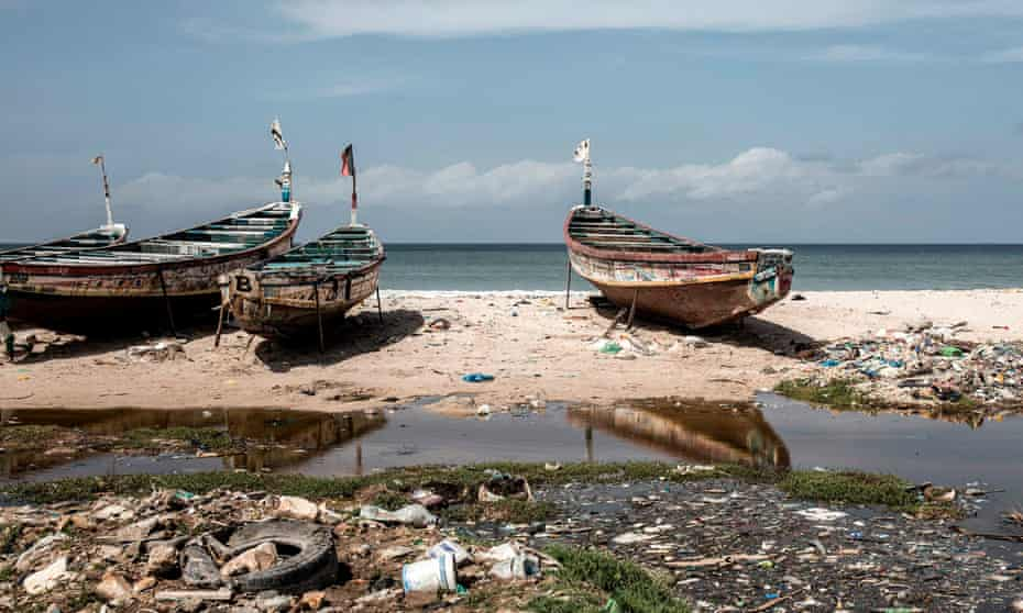 Fishing boats on an African shoreline