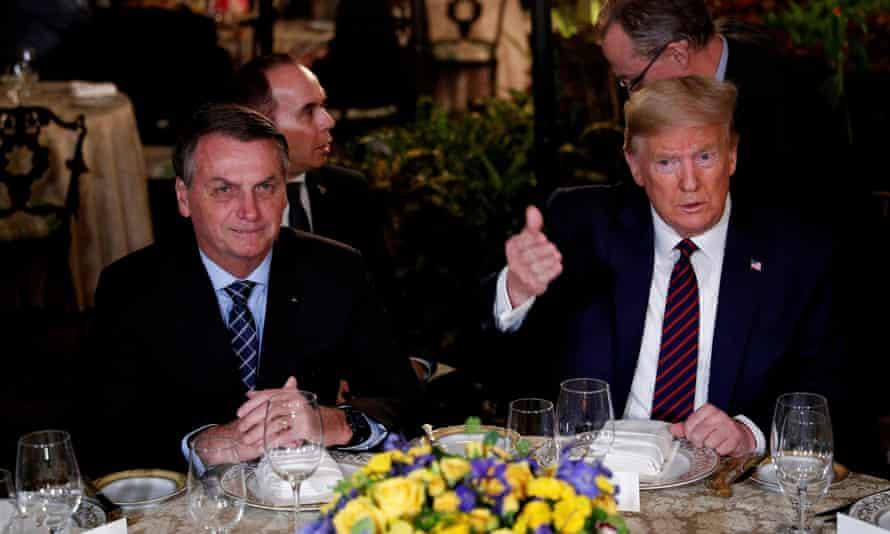 Trump with Jair Bolsonaro at Mar-a-Lago in March. Bolsonaro seems to have had a mild form of the disease.