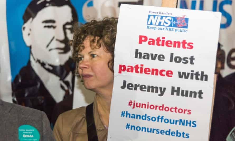 A protest outside the Royal London hospital in support of junior doctors