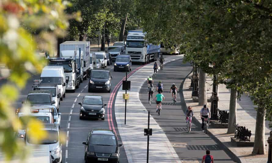 One of London's protected cycle superhighways at Victoria Embankment