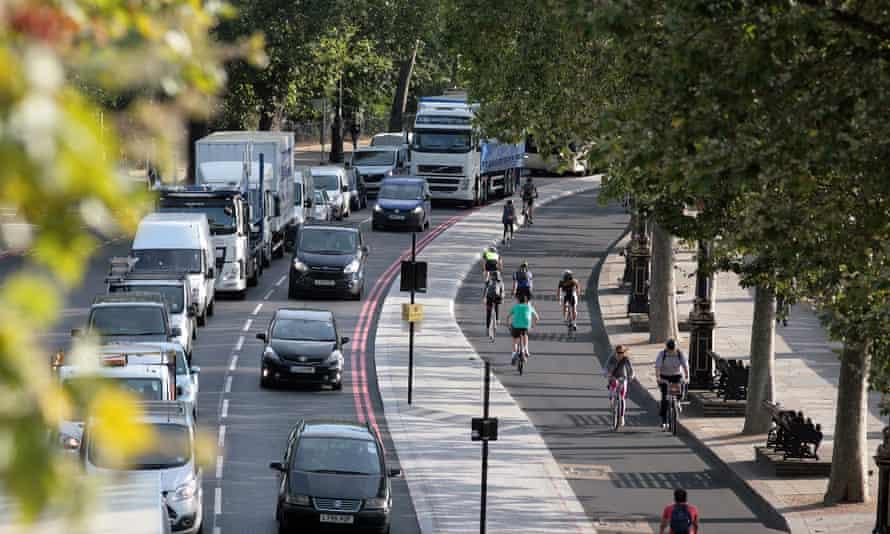 London's cycle superhighway squeezes cars onVictoria Embankment.