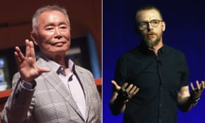 'I must respectfully disagree with him' … Simon Pegg, right, has responded to criticisms by George Takei, left.