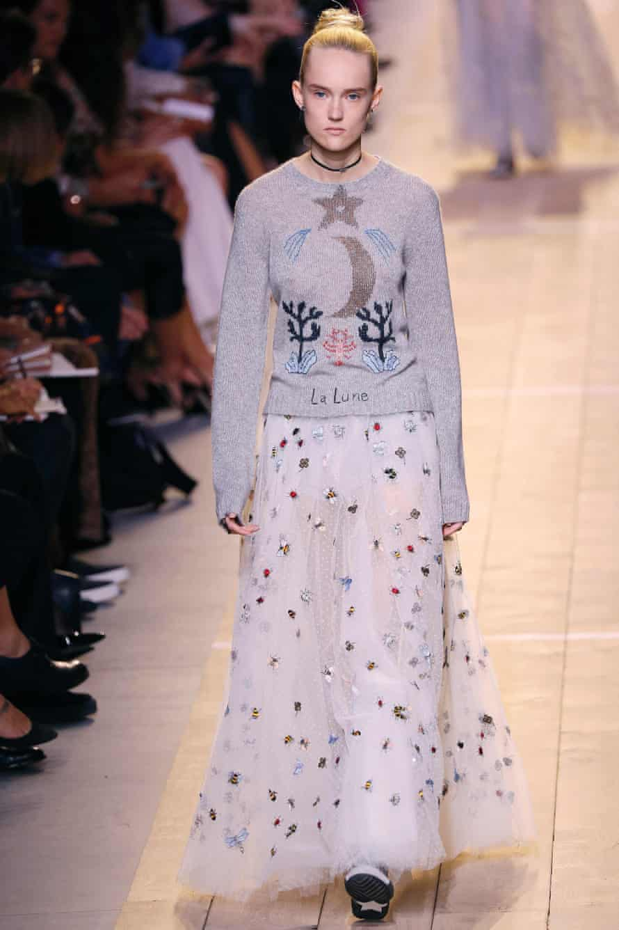 A model presents a creation for Christian Dior during the 2017 Spring/Summer ready-to-wear collection fashion show