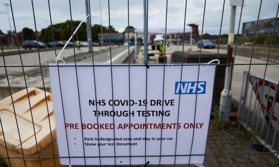 Sign at Bolton testing centre saying 'pre-booked appointments only'