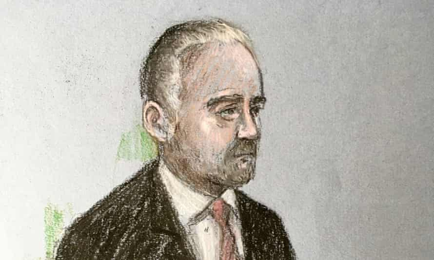 A court artist's sketch of Geraint Jones at Plymouth magistrates court