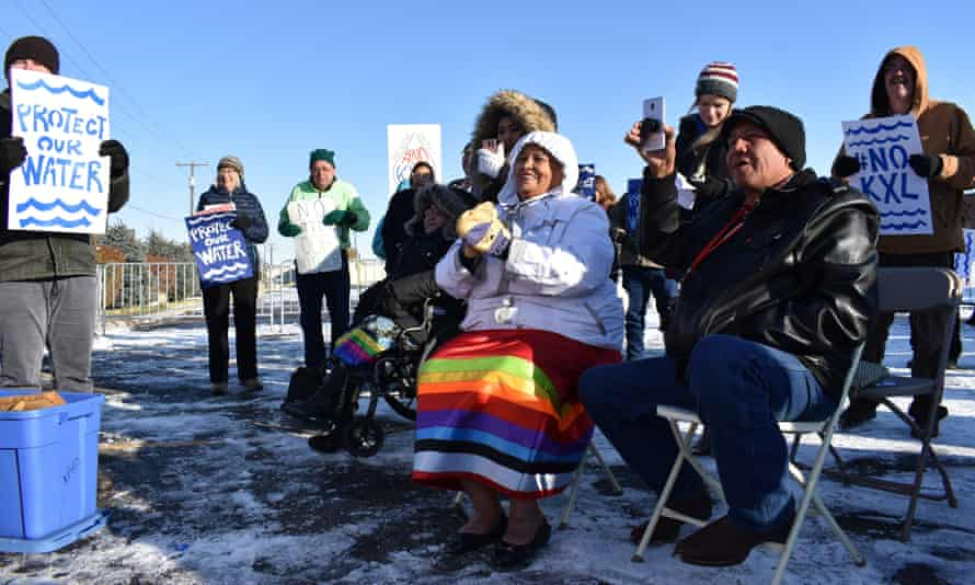 Opponents of the Keystone XL oil pipeline are seen demonstrating in sub-freezing temperatures last month in Billings, Montana.