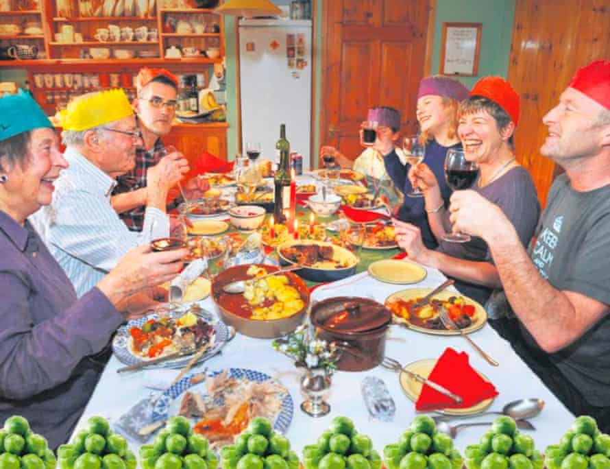 Christmas dinner with sprouts border