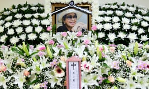 A floral tribute to Choi Eun-hee on an altar at a hospital chapel in Seoul