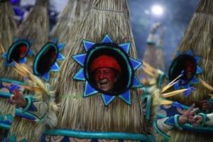 A closer look at a reveller from the Portela samba school