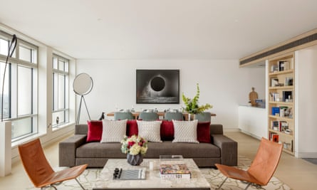 The luxury living room of a flat inside the Centre Point building.