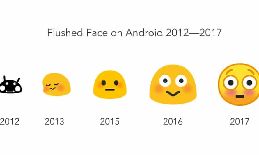 """The evolution of the """"flushed face"""" emoji over five years of Android."""