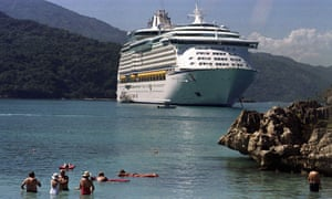 A ship belonging to Royal Caribbean Cruise Lines is anchored off Labadee Beach, near Cap Haitian, Haiti