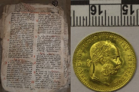 A Menaion from 1760 was seized in Romania as well as coins.