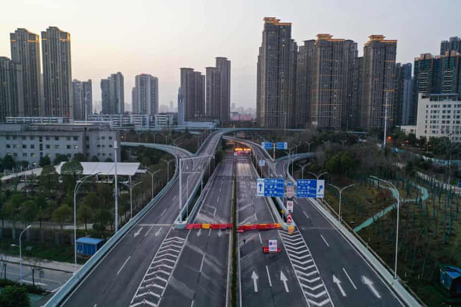 An empty street in Wuhan, Hubei, the province at the centre of the coronavirus outbreak.