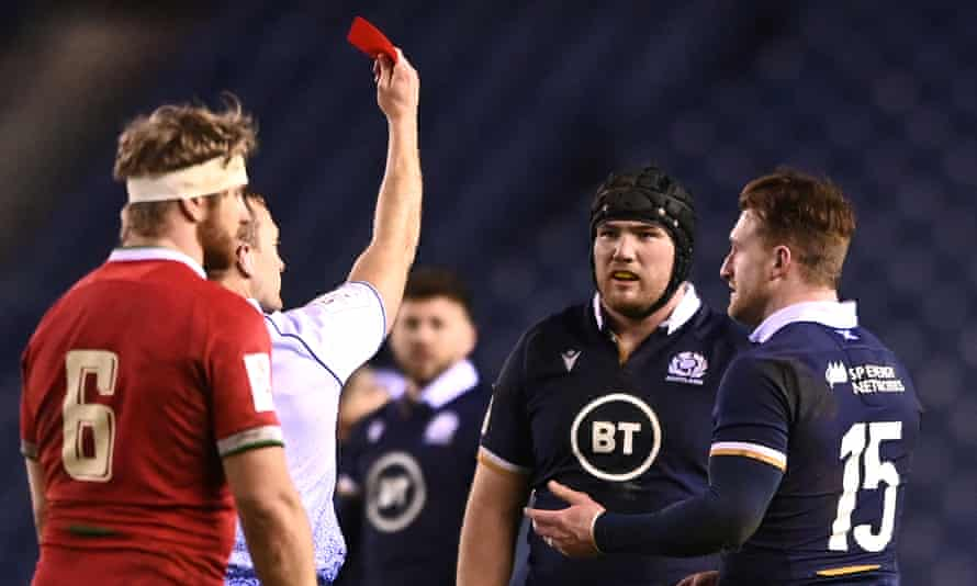 Scotsman Zander Fagerson is sent off against Wales during his team's 25-24 defeat at Murrayfield