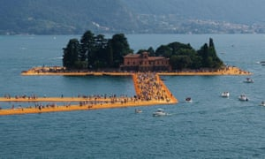 The Floating Piers on Lake Iseo, near Sulzano, northern Italy, in 2016