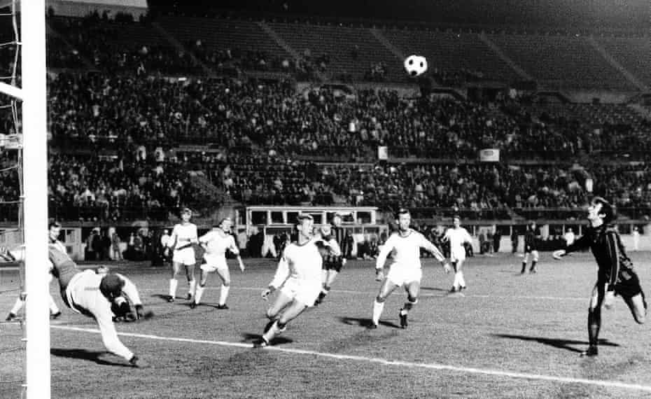 Neil Young keeps his eye on the ball before lashing it home for the opening goal of the game in Manchester City's 2-1 win over Gornik Zabrze in the 1970 European Cup Winners' Cup final.