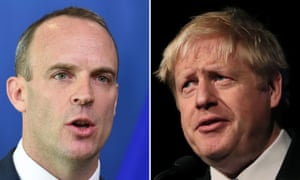 Dominic Raab, left, and Boris Johnson's relationship with the EU is riven with mistrust.