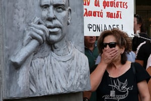 Magda Fyssas next of the monument in honour of her son, Pavlos, in 2013.