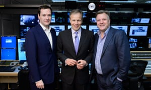 ITV's election night host Tom Bradby, centre, flanked by political pundits George Osborne and Ed Balls.