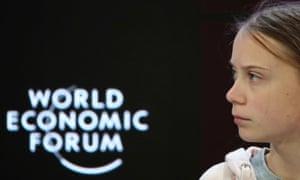 Greta Thunberg at the 50th World Economic Forum annual meeting in Davos.